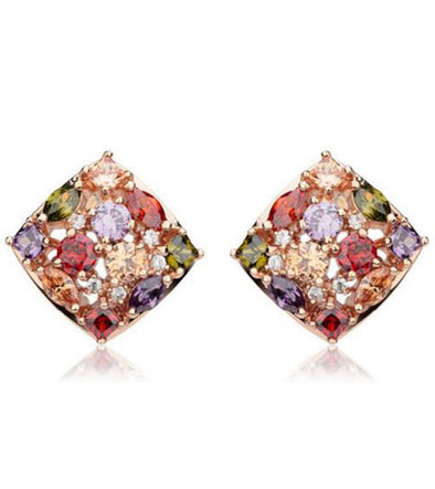 Karatcart Premium Multi-Color 18K Rose GoldPlated Cubic Zirconia Crystal Stud Earrings