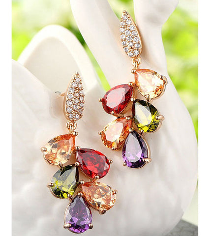 Karatcart Premium Multi-Color 18K Rose GoldPlated Swiss Cubic Zirconia Earrings For Women