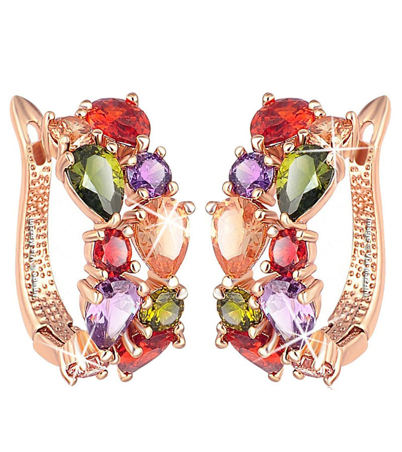 Karatcart Premium Multi-Color 18K Rose GoldPlated Swiss Cubic Zirconia Earrings