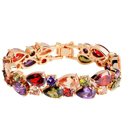 Karatcart Premium Multi-Color 18K Rose GoldPlated Swiss Cubic Zirconia Bracelet  ...