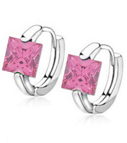 Pink Platinum Plated Swiss Cubic Zirconia Earrings