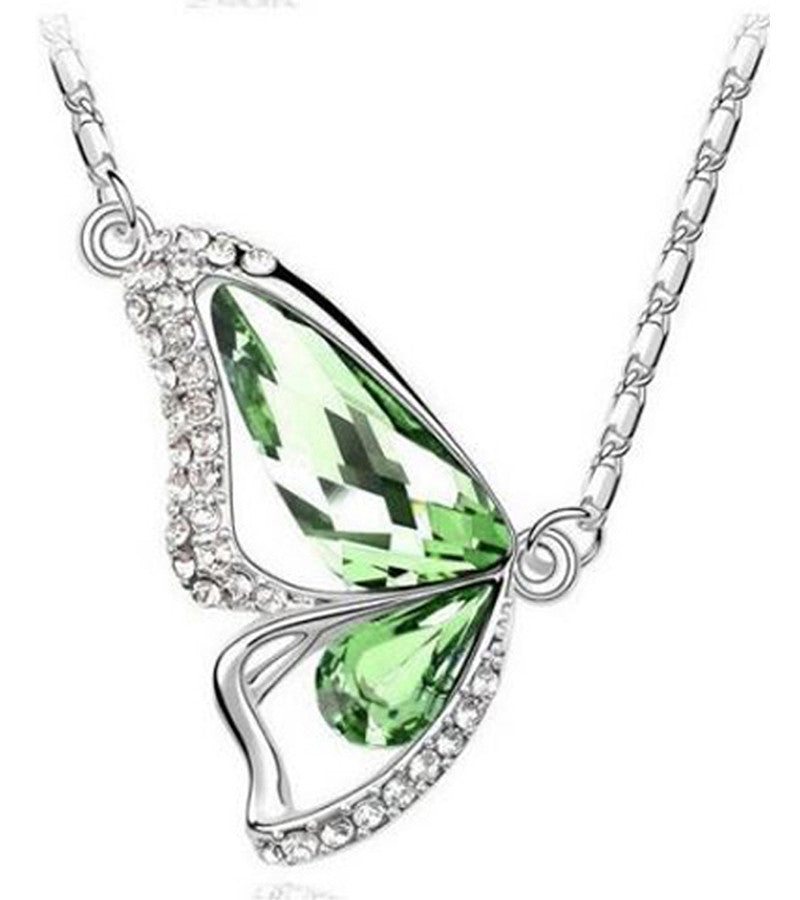 Karatcart Platinum Plated Elegant Austrian Crystal Butterfly Pendant For Women