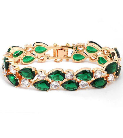 karatcart Premium Green 23K Rose GoldPlated Swiss Cubic Zirconia Bracelet For Women