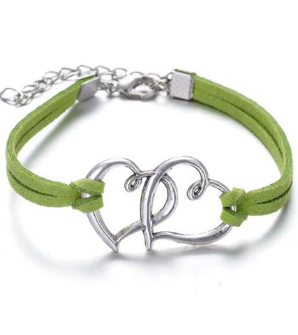 Karatcart Heart Shaped Green Leather Bracelet For Women