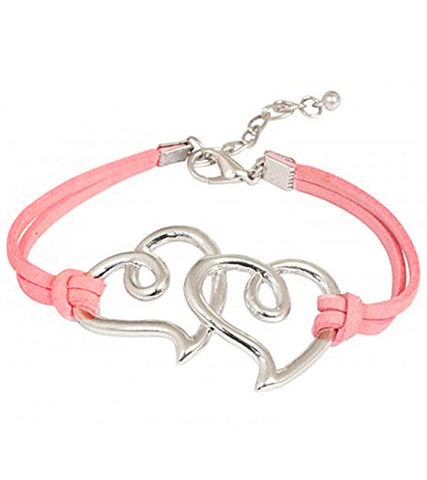 Karatcart Heart Shaped Pink Leather Bracelet For Women