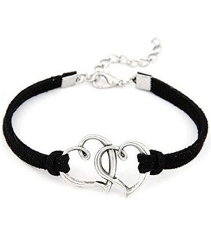 Karatcart Heart Shaped Black Leather Bracelet