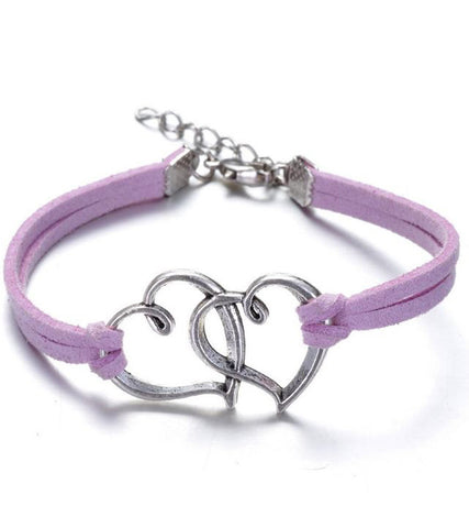 Karatcart Heart Shaped Purple Leather Bracelet