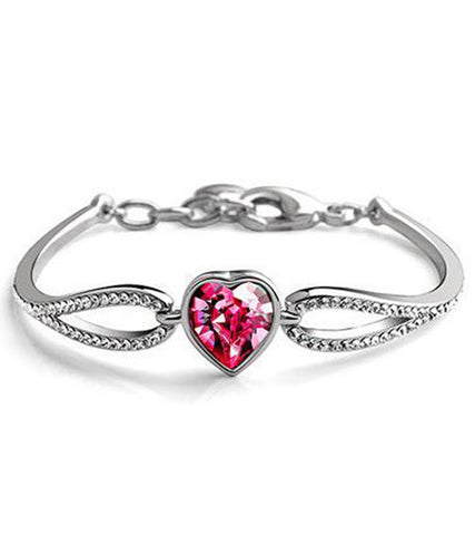Karatcart Platinum Plated Red Crystal Bracelet