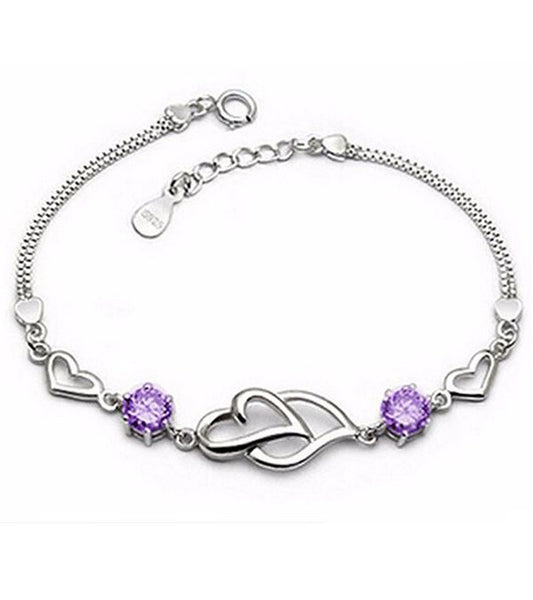 Karatcart Platinum Plated Purple Heart Shaped Bracelet