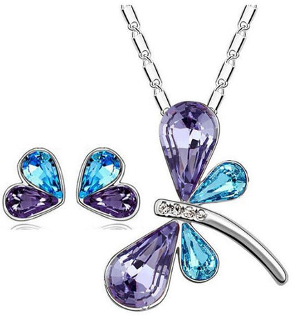 Karatcart Platinum Plated Elegant Austrian Crystal Blue Butterfly Shaped Pendant Set
