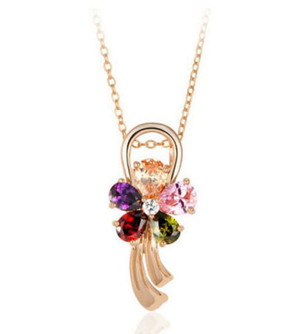 Karatcart 24K Premium Rose GoldPlated Multi-Colour Swiss Cubic Zirconia Pendant For Women