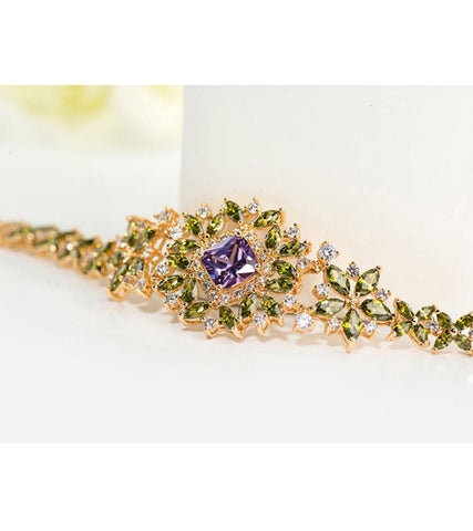 Karatcart 24K Premium GoldPlated Green Swiss Cubic Zirconia Bracelet For Women