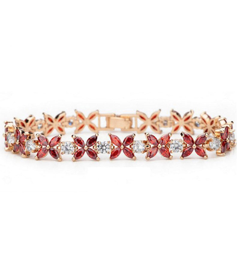 Premium GoldPlated Red Swiss Cubic Zirconia Bracelet