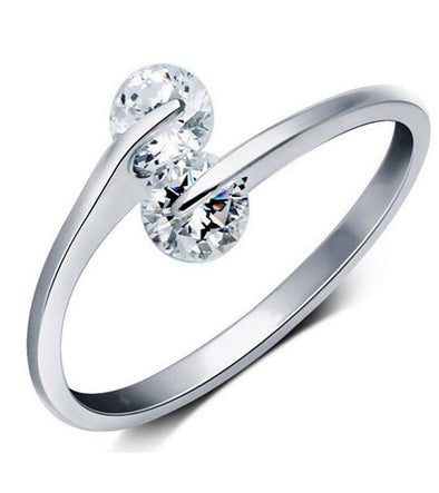 Karatcart Platinum Plated Trendy Elegant Austrian Crystal Adjustable Ring