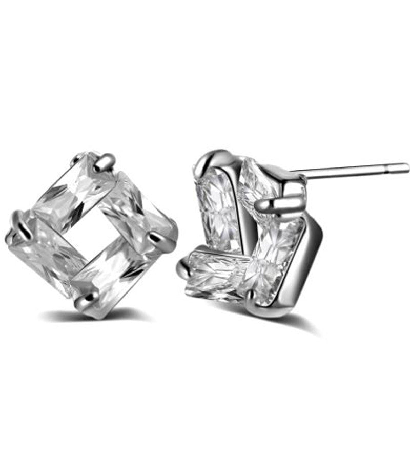Karatcart Platinum Plated Daily Wear Austrian Crystal Stud Earrings for Women