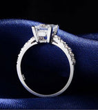 Karatcart Platinum Plated Trendy Elegant Austrian Crystal Princess Cut Ring For Women