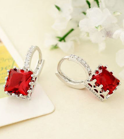 Karatcart Platinum Plated Austrian Crystal Red Earrings