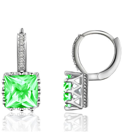 Karatcart Platinum Plated Austrian Crystal Green Work Wear Earrings for Women