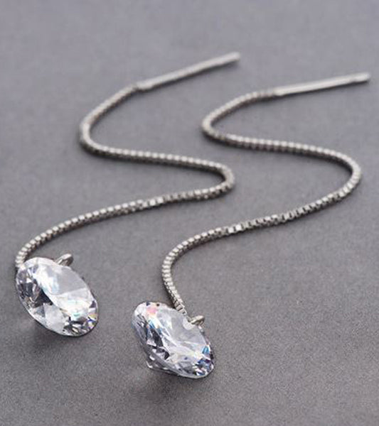 Karatcart Platinum Plated Austrian Crystal Unique Long Chain Drop Earrings
