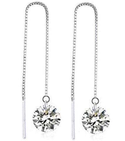 Karatcart Platinum Plated Austrian Crystal Unique Long Chain Drop Earrings for Women