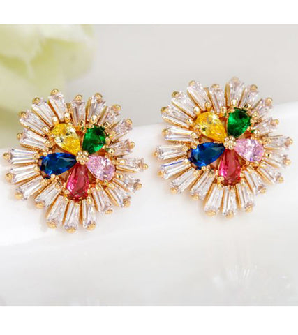 Karatcart Premium Multi-Color 24K GoldPlated Swiss Cubic Zirconia Stud Earrings For Women