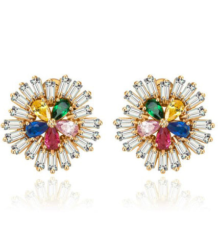 Karatcart Premium Multi-Color 24K GoldPlated Swiss Cubic Zirconia Stud Earrings