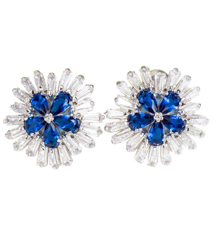 Karatcart Premium Platinum Plated Blue Crystal Stud Earrings For Women