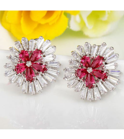 Karatcart Premium Platinum Plated Red Crystal Stud Earrings For Women