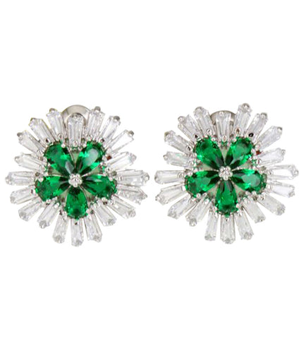 Karatcart Premium Platinum Plated Green Crystal Stud Earrings For Women