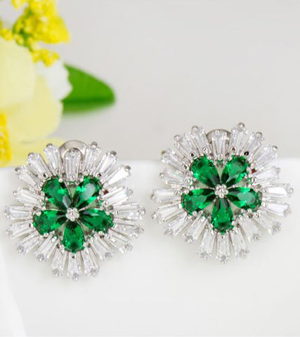 Karatcart Premium Platinum Plated Green Crystal Stud Earrings