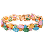 Karatcart Premium Multi-Colour 24K Rose GoldPlated Swiss Cubic Zirconia Bracelet For Women