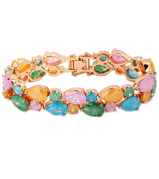 Karatcart Premium Multi-Colour 24K Rose GoldPlated Swiss Cubic Zirconia Bracelet