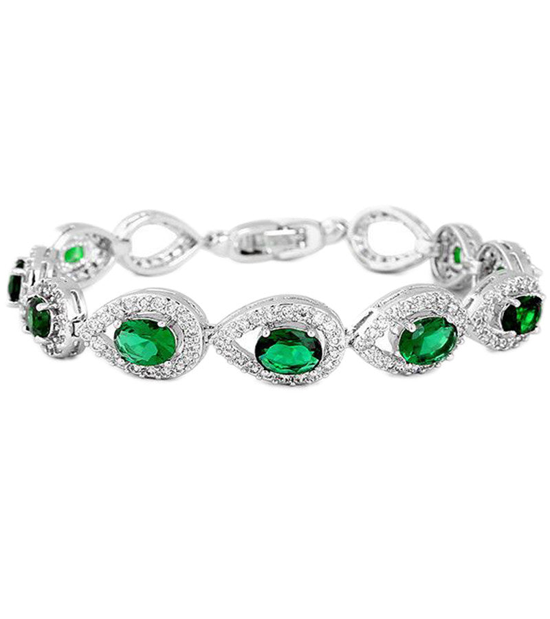 Karatcart Platinum Plated Green Crystal Bracelet For Women