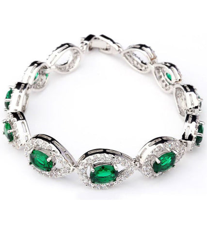 Karatcart Platinum Plated Green Crystal Bracelet