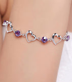 Karatcart Platinum Plated Purple Crystal Bracelet