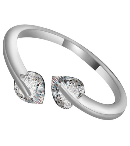 Karatcart Platinum Plated  Trendy Elegant Austrian Crystal Heart Cut Adjustable Ring