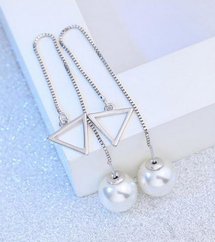 Karatcart Platinum Plated Austrian Crystal Unique Long Chain White Pearl Drop Earrings