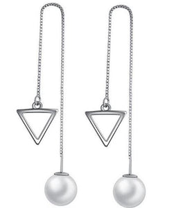 Karatcart Platinum Plated Austrian Crystal Long Chain White Pearl Drop Earrings
