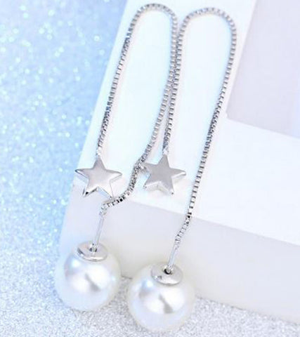 Karatcart Platinum Plated Austrian Crystal Unique Long Chain White Pearl Drop Earrings for Women