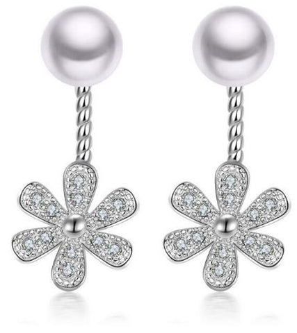 Karatcart Platinum Plated  Austrian Crystal Flower Cut Drop Earrings For Women