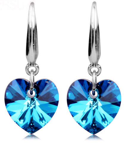 Karatcart Platinum Plated Trendy Heart Cut Blue Austrian Crystal Drop Earrings