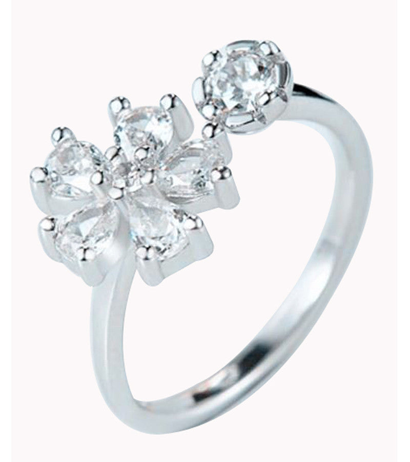 Karatcart Platinum Plated Flower Cut Elegant Austrian Crystal Adjustable Ring For Women