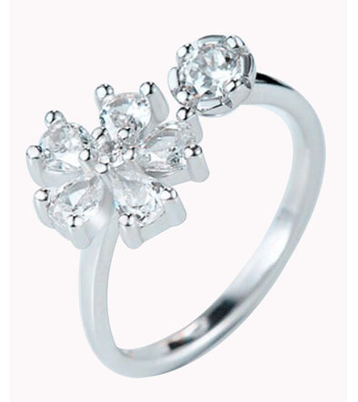 Karatcart Flower Cut Austrian Crystal Adjustable Ring