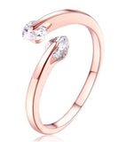 Karatcart Rose GoldPlated Heart Cut Elegant Austrian Crystal Adjustable Ring For Women