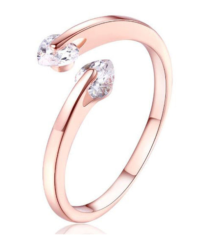 Karatcart Rose GoldPlated Heart Cut Elegant Austrian Crystal Adjustable Ring