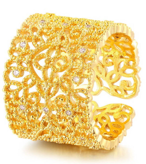 24K GoldPlated Trendy Elegant Austrian Crystal Adjustable Filigree Band Ring For Women