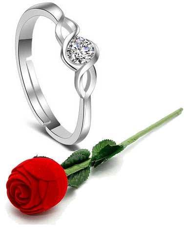 Valentine Gift By Karatcart Platinum Plated Elegant Classic Crystal Adjustable Ring For Women