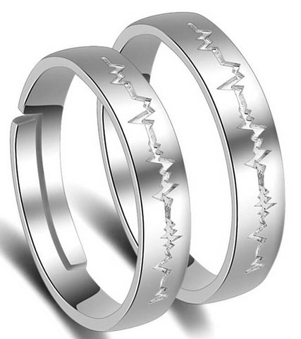 Platinum Plated Elegant Couple Adjustable Band Ring