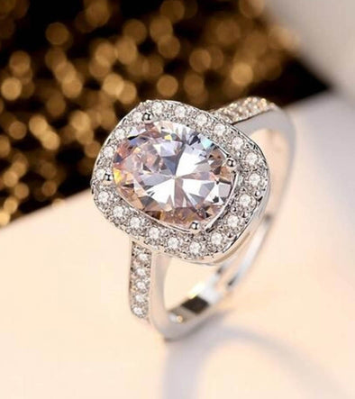 Platinum Plated Elegant Classic Crystal Adjustable Ring