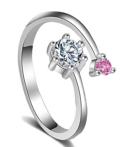 Platinum Plated Elegant Classic Pink Crystal Adjustable Ring